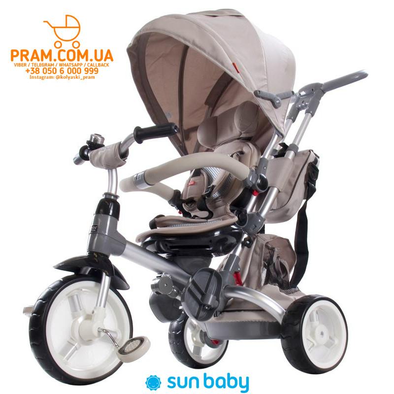 Трехколесный велосипед с родительской ручкой Sun Baby Little Tiger Beige Бежевый