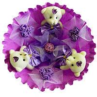 Букет из 3 мягких игрушек Мишки с розочками