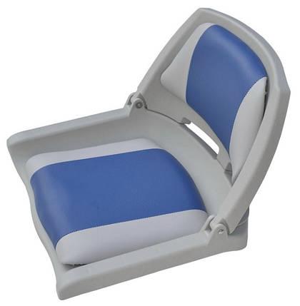 Сиденье складное пластиковое серо синее, фото 2