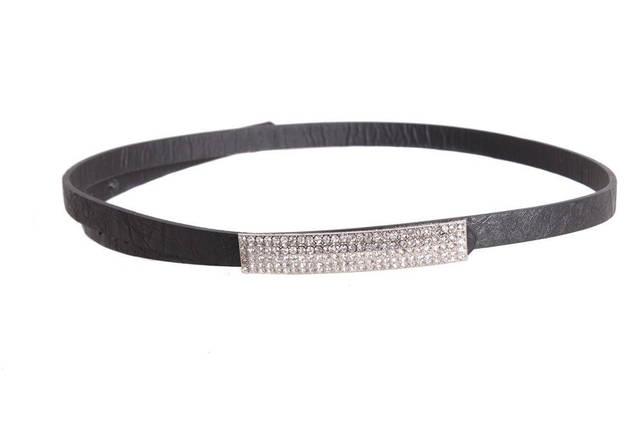 Женский узкий ремень Dovhani W1400-555 100 см Черный, фото 2