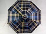 Мужской зонт синий в клетку  полуавтомат 8 спиц, фото 5