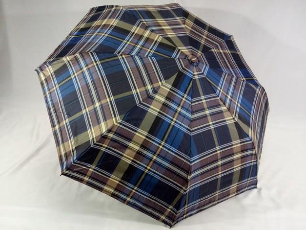 Мужской зонт синий в клетку  полуавтомат 8 спиц