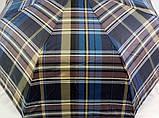 Мужской зонт синий в клетку  полуавтомат 8 спиц, фото 2