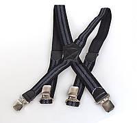 Подтяжки мужские Dovhani P003-4BLWGRAY-555 Черные-Серые