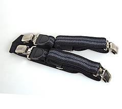 Подтяжки мужские Dovhani P003-4BLWGREY-555 Черные-Серые, фото 2