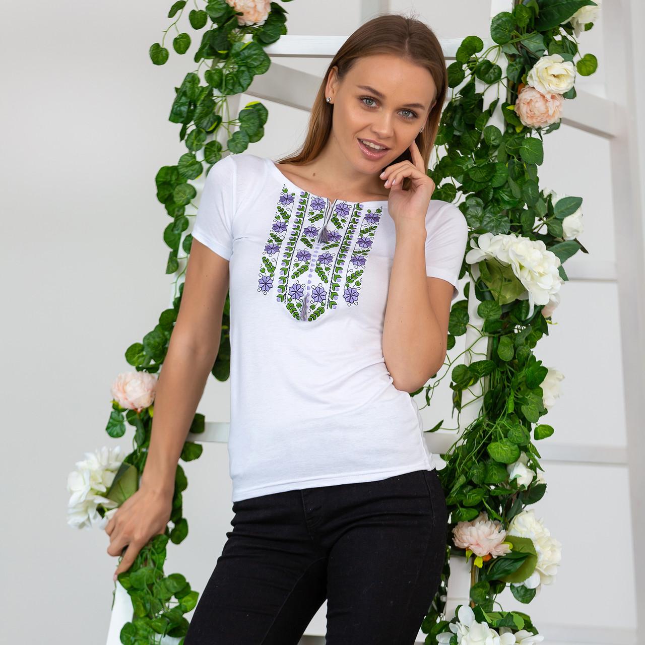 Гладь вышивка на футболках - Цветы
