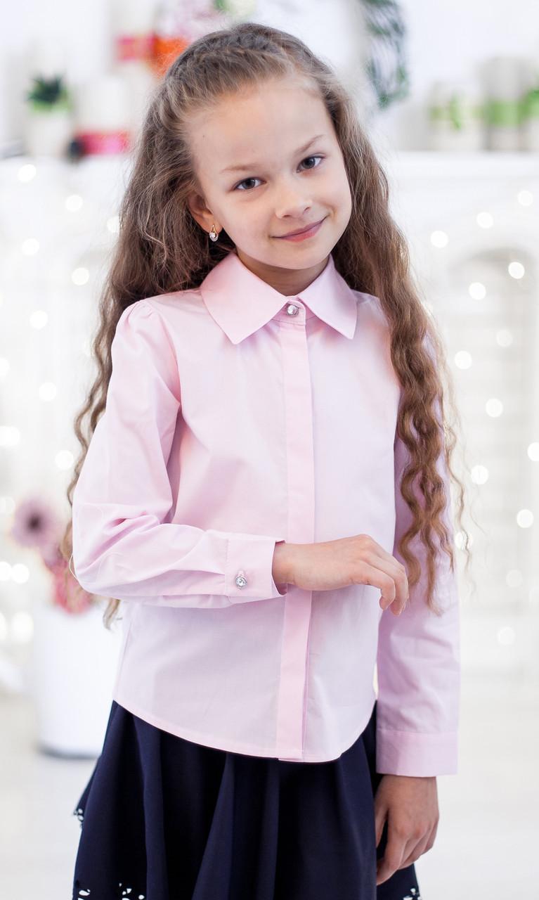 Школьная блузка классическая  со скрытой застежкой мод. 2001 розовая