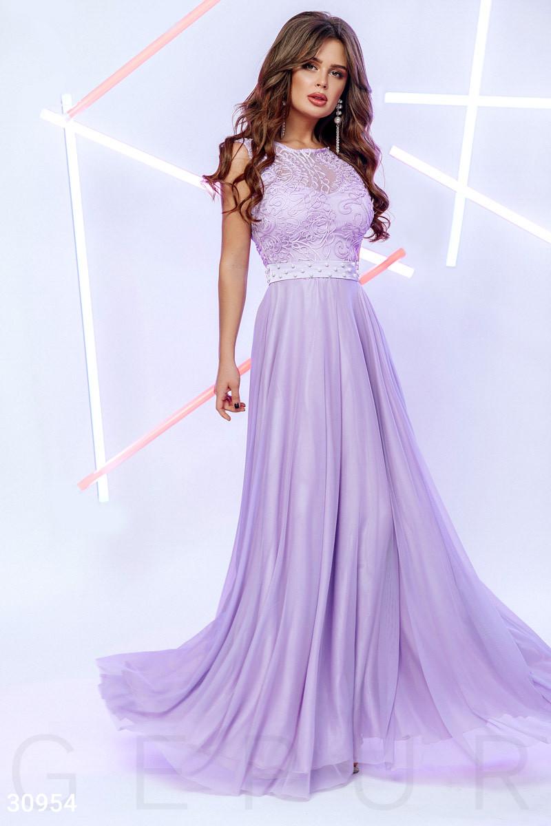 Вечернее платье макси юбка пышная без рукав с бусинами цвет лаванда