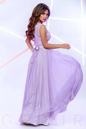 Вечернее платье макси юбка пышная без рукав с бусинами цвет лаванда, фото 2