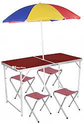 Стол для пикника раскладной со 4 стульями и зонтом 120х60х55/60/70 см 3 режима высоты Коричневый