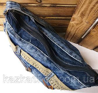 Джинсовая, текстильная сумка, прогулочная, с подкладом, один отдел, с плечевым регулируемым ремнем, вышивка, фото 2