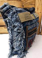Джинсовая, текстильная сумка, прогулочная, с подкладом, один отдел, с плечевым регулируемым ремнем, вышивка, фото 3