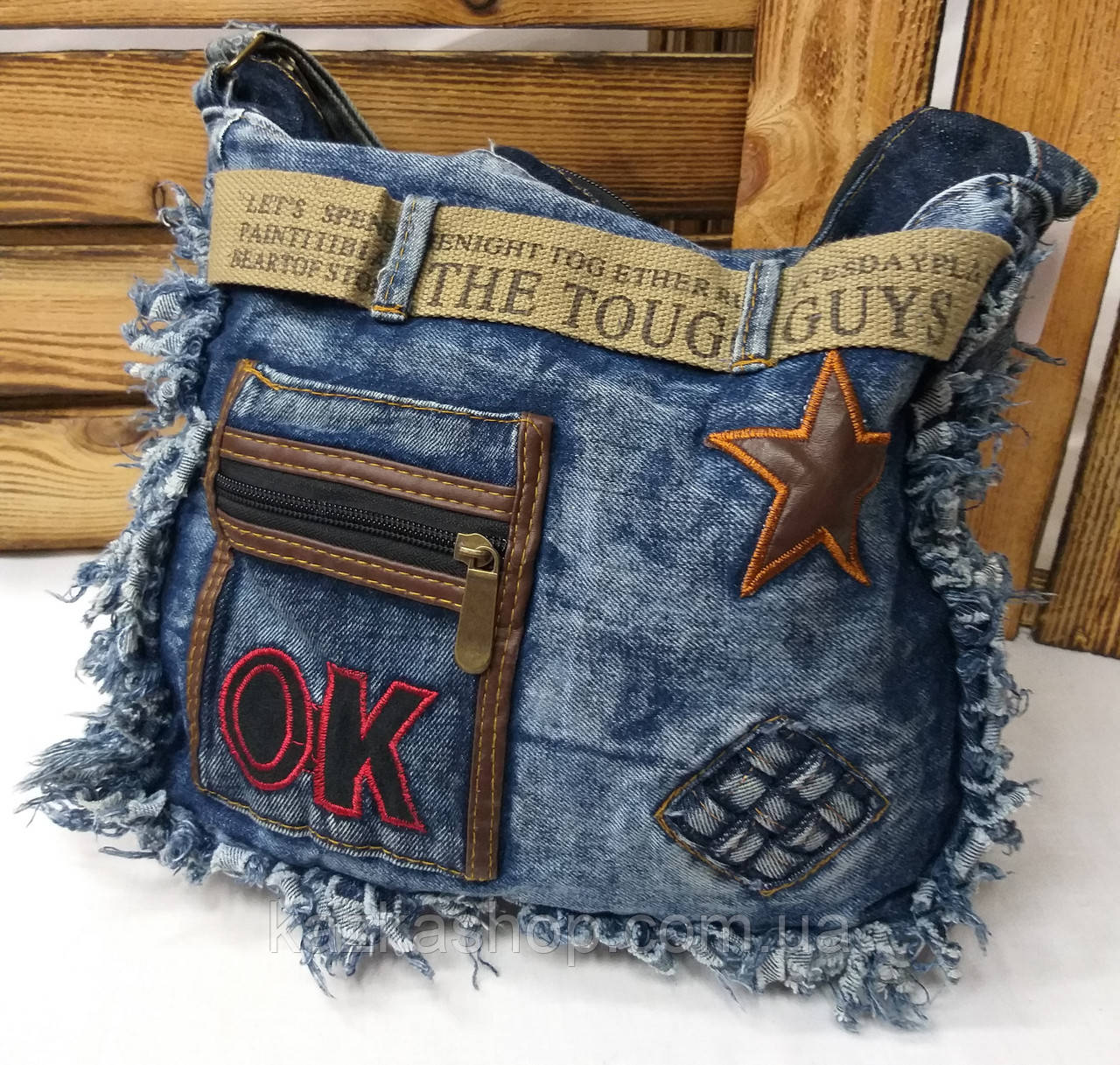 Джинсовая, текстильная сумка, прогулочная, с подкладом, один отдел, с плечевым регулируемым ремнем, вышивка