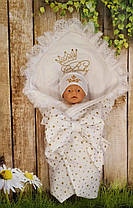 Конверт Одеяло для новорожденных на выписку с вышивкой лето 78х78см Белый