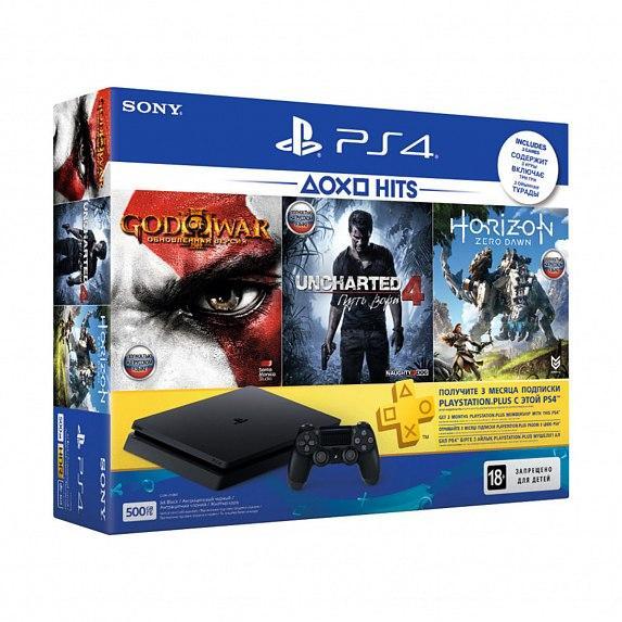 Игровая приставка SONY PlayStation 4 Slim 500 Gb Black HZD+GOW3+UC4+PSPlus 3М (9946564)