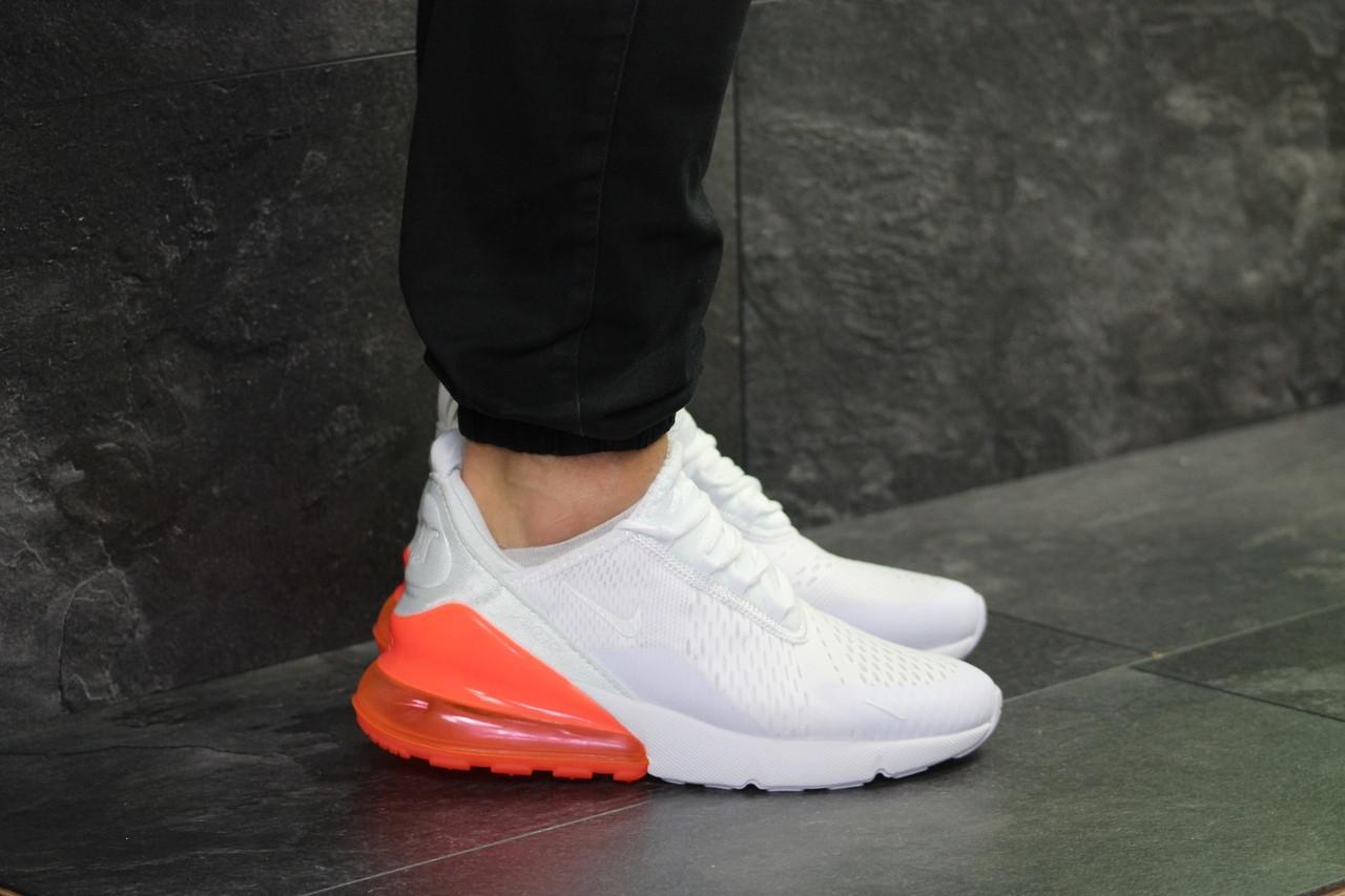 Кроссовки найк аир макс 270 белые оранжевые спортивные (реплика) Nike Air Max 270 White Orange