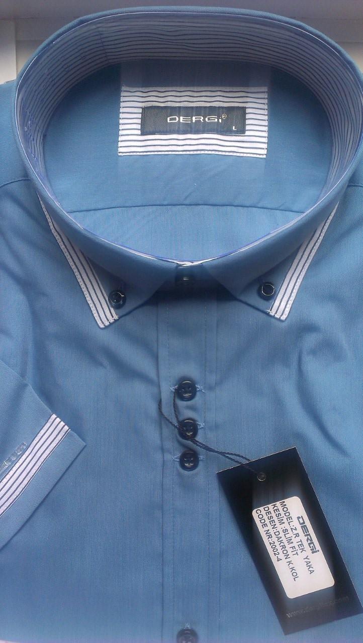 Элегантная Рубашка мужская с коротким рукавом приталенная DERGI с комбинированным воротником  на пуговицах