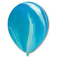 "Латексный шар 11"" супер Агат голубой"