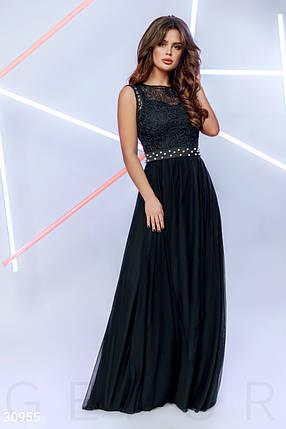 Женское вечернее платье в пол юбка расклешенная без рукав с бусинами черного цвета, фото 2