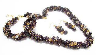 Набор украшений. Серьги, браслет, ожерелье. Микс. Гранат. 10мм