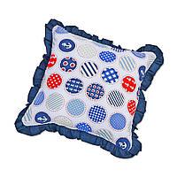 Подушка декоративна з рюшем DavLu Морський горох 30х30 см синій (P-202)