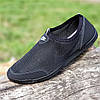Мокасины мужские летние черные сетка (код 303)