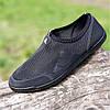 Мокасины мужские летние черные сетка (код 304)