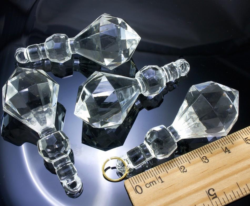 (500грамм ≈ 50шт) Кристаллы для декора  58х25 мм, с отверстием Цена за 500 грамм