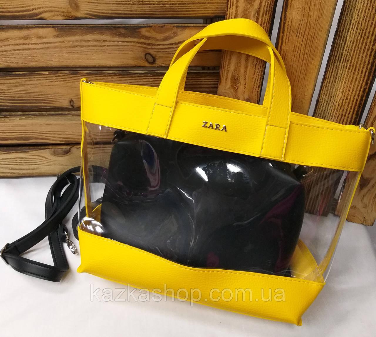 e087a5ea0d80 Женская сумка из эко-кожи, силиконовая, прозрачная, один отдел, с логотипом