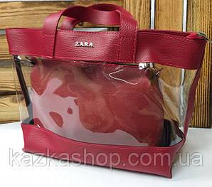 Женская сумка из эко-кожи, прозрачная, один отдел, с логотипом в стиле Zara (реплика), с клатчем, Турция Красный