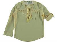 Летняя блуза в этно стиле для девочки 134-140 см. Состав 70% хлопок, 30% вискоза. Цвет желтый. Бренд Barbijoy.