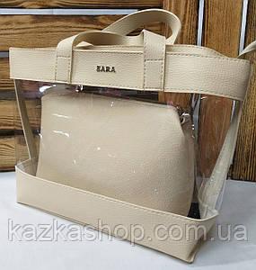 Женская сумка из эко-кожи, прозрачная, один отдел, с логотипом в стиле Zara (реплика), с клатчем, Турция Бежевый