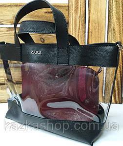 Женская сумка из эко-кожи, прозрачная, один отдел, с логотипом в стиле Zara (реплика), с клатчем, Турция Черный
