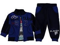 Крутой костюм (бомбер, кофта, штаны) для мальчика 1 год. Есть карманы. Цвет черный с синим. Бренд Pakel Baby.