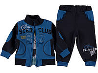 Стильный костюм (бомбер, кофта, штаны) для мальчика 1 год. Есть карманы. Цвет голубой. Бренд Pakel Baby.