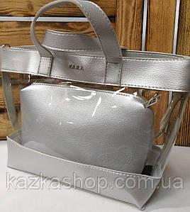 Женская сумка из эко-кожи, прозрачная, один отдел, с логотипом в стиле Zara (реплика), с клатчем, Турция Серебро