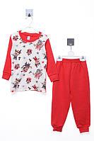 Пижама для ребёнка/девочка 100% хлопок Красный Simarik все размеры  1 год (86 см)