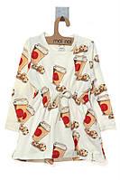 Платье для ребёнка/девочка 95 % хлопок, 5% эластан молочный MOI NOI все размеры  0-3 мес (56-62 см)