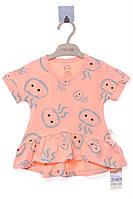 Классное и яркое платье для девочки. Милый принт. Состав 95%хлопок, 5%эластан. Цвет персиковый. Бренд MOI NOI.