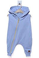 Летний комбинезон с капюшоном и на молнии для ребенка. Состав 100% хлопок. Цвет голубой. Бренд MOI NOI.