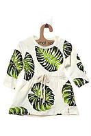 Платье для ребёнка/девочка 95 % хлопок, 5% эластан молочный MOI NOI все размеры  3-6 мес (62-68 см)