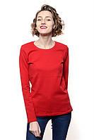 Яркий женский лонгслив с круглым вырезом для модниц. Очень стильный. Цвет красный. Бренд Sevil.