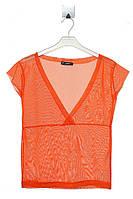 Яркая и легкая футболка из сетки для девочки 10-12 лет. Состав 100% полиэстер. Цвет оранжевый. Бренд NRV.