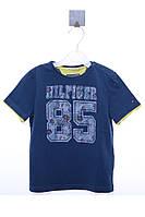 Прикольная хлопковая футболка с принтом для мальчика. Цвет синий. Бренд Tommy Hilfiger. Размер на 74см.