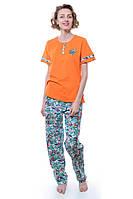 Пижама Женский 92% хлопок, 8% эластан оранжевый Chiser все размеры  L