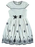 Нарядное красивое платье для девочки. Декор на поясе. Состав 100% полиэстер. Цвет молочный. Бренд Cremix.