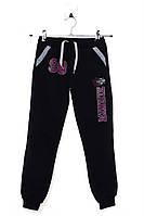Спортивные штаны для ребёнка/девочка 80% хлопок 20% полиэстер чёрный My Koala все размеры  11 лет (146 см)