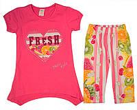 Костюм (футболка, капри) для ребёнка/девочка 75% вискоза, 20% хлопок, 5% эластан Розовый Mali Kon все размеры  92 см