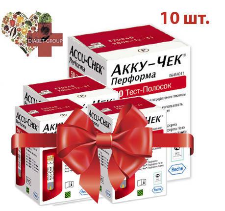 Тест-полоски Акку-Чек Перформа (Accu-Chek Performa) 100 шт. 10 упаковок, фото 2