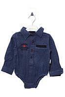 Модный боди - рубашка для мальчика 12 мес (80 см). Состав 80% хлопок, 20% полиэстер. Цвет синий. Бренд Verdo.
